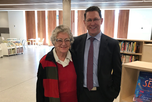 Mirvac team member with woman at Marrickville library