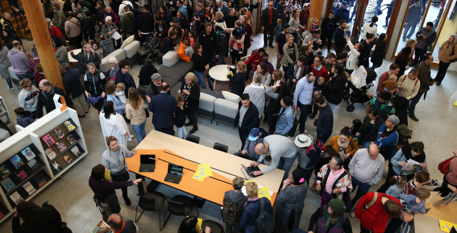 Aerial view of crowd gathered at Marrickville library