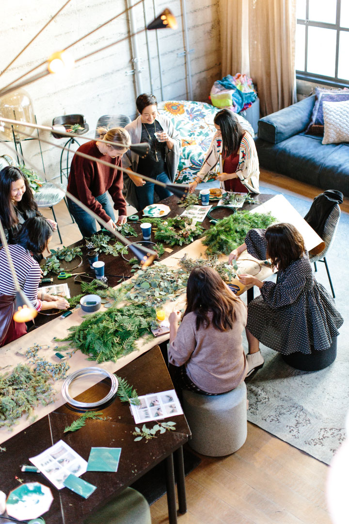 People dining at table