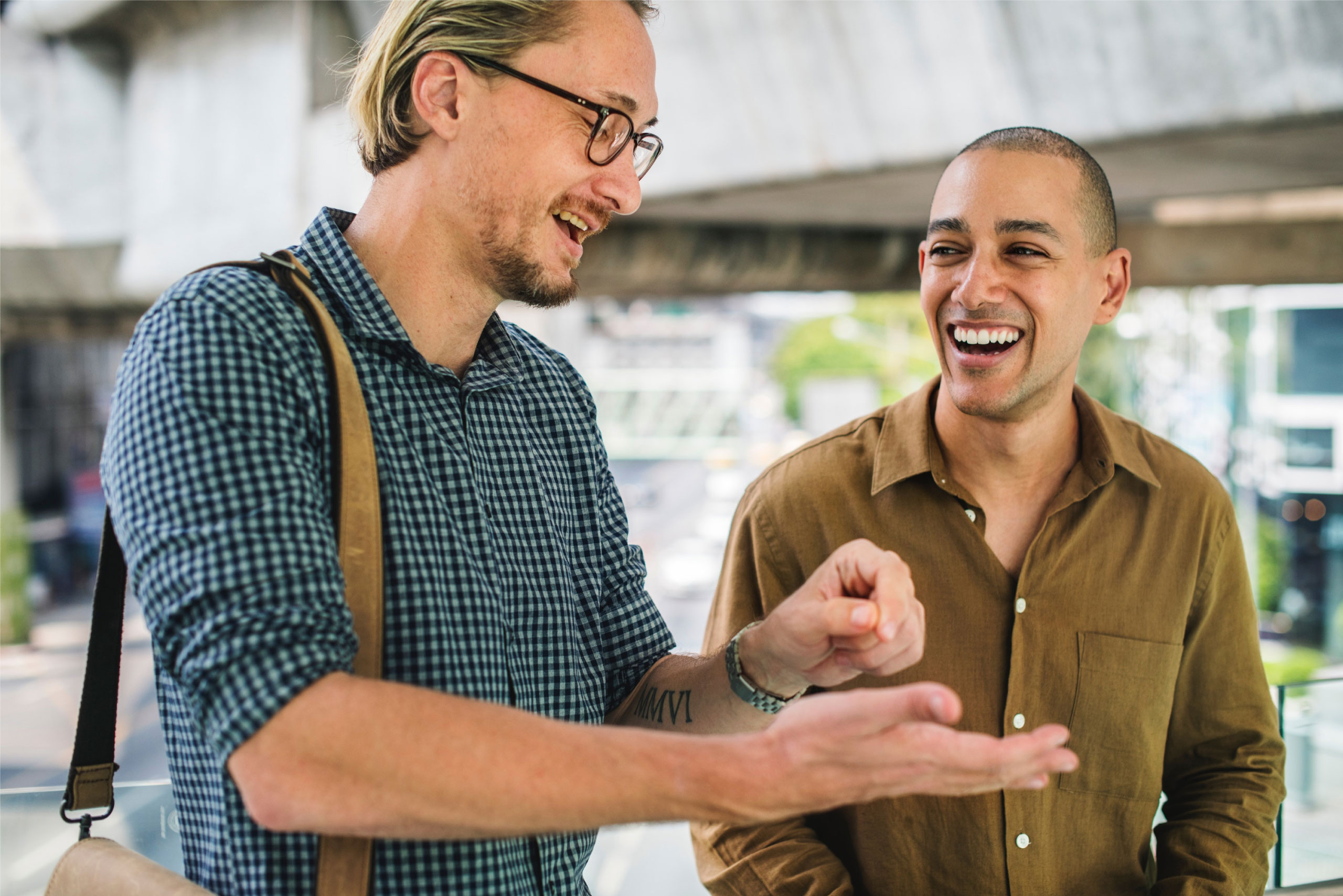 Men laughing