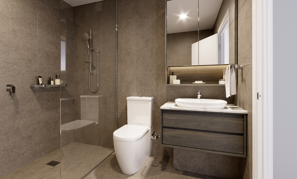 Ascot Green 20201 dark bathroom scheme